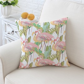 Pink Flamingos With Green Leaves Pattern Plush Throw Pillow