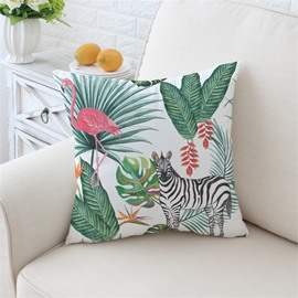 Pink Flamingo and Zebra in Tropical Plants Pattern Plush Throw Pillow