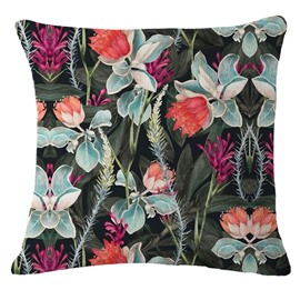 Tropical Flowers and Foliage Design Hand-Painted Linen Throw Pillow