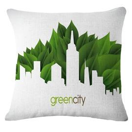 Emerald Trees Green City Pattern White Linen Throw Pillow