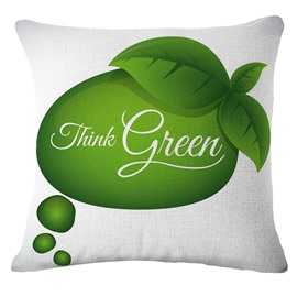 Emerald Green Fruits and Think Green White Linen Throw Pillow