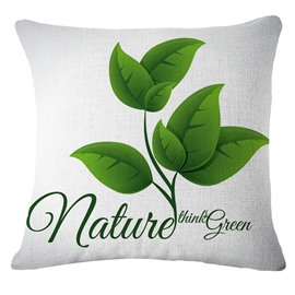 Emerald Green Leaves Pattern White Linen Throw Pillow