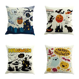 Happy Halloween Cartoon Ghost and Pumpkin Pattern Square Linen Decorative Throw Pillows