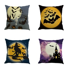 Happy Halloween and Big Moon Pattern Square Linen Decorative Throw Pillows