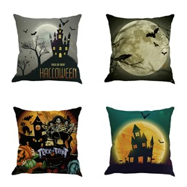 Happy Halloween Festival Bat and Moon Bat Square Cotton Line Decorative Throw Pillow