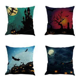 Happy Halloween Festival Pumpkin and Moon Square Cotton Line Decorative Throw Pillow