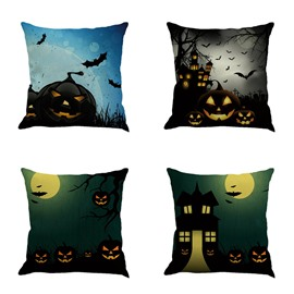 Halloween Festival Pumpkin and Bat Pattern Square Cotton Linen Decorative Throw Pillow