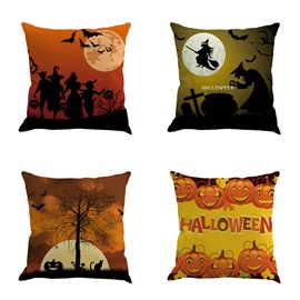 Halloween Festival Pumpkin and Moon Square Cotton Linen Decorative Throw Pillows