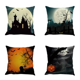 Happy Halloween Party Moonlight Buildings and Bat Square Cotton Linen Decorative Throw Pillows