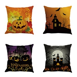 Happy Halloween Pumpkin and Buildings Square Cotton Linen Decorative Throw Pillows