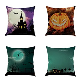 Happy Halloween Pumpkin Bat Pattern Square Cotton Linen Decorative Throw Pillows