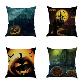 Night Halloween Pumpkin Pattern Square Linen Decorative Throw Pillows
