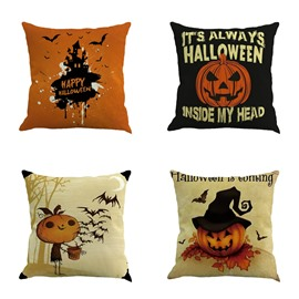 Halloween Pumpkin and Spider Pattern Square Linen Decorative Throw Pillows