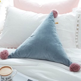 Woolen Ball Triangle Shape Colorful Pattern Pillow