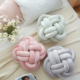 Thick Knitting Ball Colorful Flower Round Shape Sofa Pillow