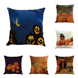 Cute Pumpkins Pattern Halloween Square Linen Throw Pillow