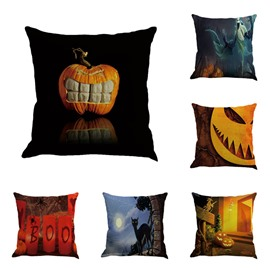 Halloween Carnival Pumpkin and Black Cats Decorative Linen Square Throw Pillow