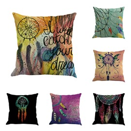 Colorful Dreamcatcher Pattern Decorative Linen Square Throw Pillow