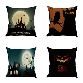Halloween Bright Moon and Castle Decorative Linen Square Throw Pillow