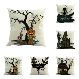 Happy Halloween Cartoon Pumpkin or Bat White Square Linen Throw Pillow