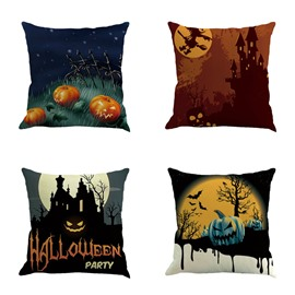 Happy Halloween Weird Pumpkin Faces Decorative Square Throw Pillow