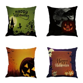Happy Halloween Decoration Elements Square Linen Throw Pillows
