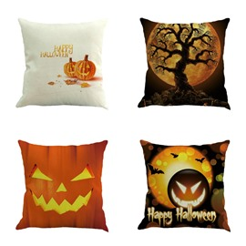 17*17in Square Linen Halloween Pumpkin Pattern Throw Pillow
