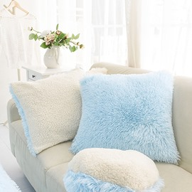 Light Blue Square Decorative Fluffy Throw Pillows