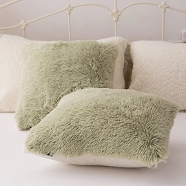 Green Plush One Piece Decorative Square Fluffy Throw Pillow