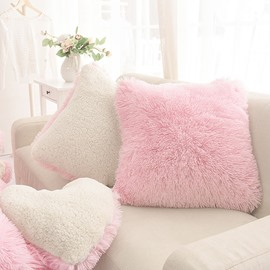 Sweet Pink Square Decorative Fluffy Throw Pillows