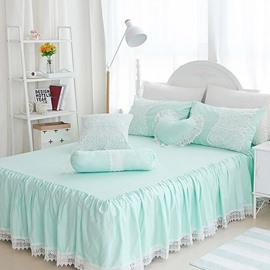 Princess Lace Edging Mint Green Square/Heart/Candy Shape Cotton Throw Pillows