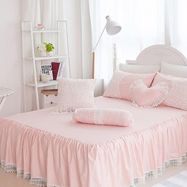 Lace Dreamy Pink Square/Heart/Candy Shape Cotton Throw Pillows