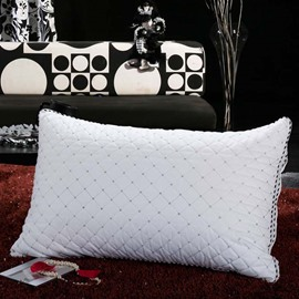 White Plaid Neck Protection Polyester Bed Pillow