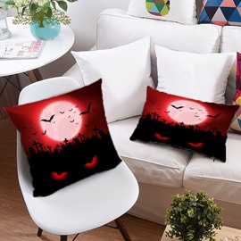 3D Witch and Pumpkin Scary Away the Ghost Printing Polyester Throw Pillow