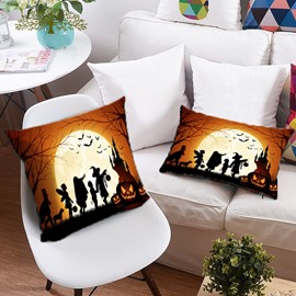 3D Pumpkin and Witch Celebrate Halloween Printing Polyester Throw Pillow
