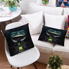 3D Weird Smile Monster Halloween Printing Polyester Throw Pillow