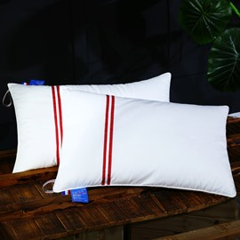 Solid White and Red Stripes Cotton Bed Pillow