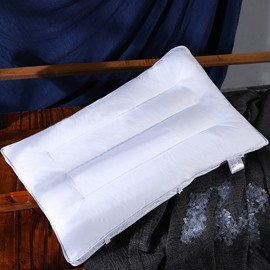 Pure Color Simple Style White Polyester Filler Cotton Bed Pillow