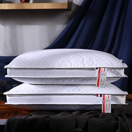 Wide Strip Solid White Plaid Pattern Cotton Bed Pillow