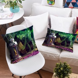 Christmas Tree and Light 3D Printing Polyester Throw Pillow