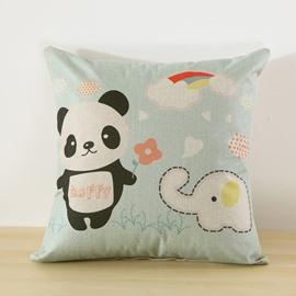 Cartoon Panda Printed Decorative Square Throw Pillow for Sofa Bedroom Car