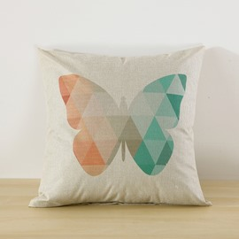 Butterfly and Floral Printed Decorative Cushion Throw Pillow