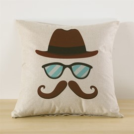 Glasses and Beard Printed Decorative Square Throw Pillow