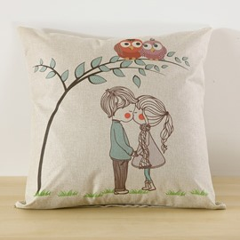 Kissing Lovers Printed Decorative Cushion Throw Pillow for Sofa Bedroom Car