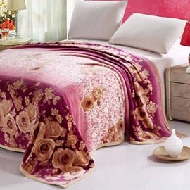 Quality Adorable Golden Roses Floral Flannel Blanket