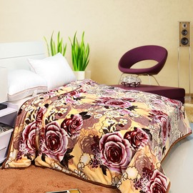 Dark Red Rose Yellow Background Pattern Soft and Warm Blanket