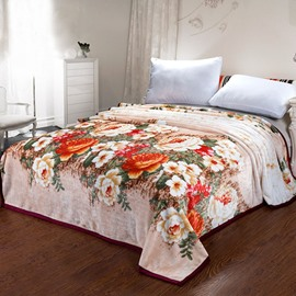 Wonderful Gorgeous Peony Pattern Thick Flannel Blanket