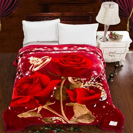 New Arrival Blooming Red Roses Printed 3D Blanket
