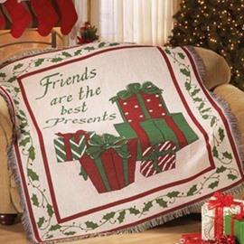 Fancy Christmas Gift Cotton White Decorative Blanket