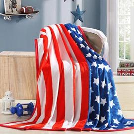 Stylish Stripe and Stars Print Flannel Blanket